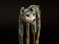 "Jake, a dog with a steel prosthesis, ceramic/mixed media 14"" x 6.5"" x 26"""
